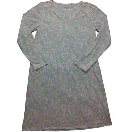 7ccb5b2c86f44 Adonna - Womens White   Blue Floral Print Flower Nightgown Pastel Sleep  Shirt Gown - Walmart.com