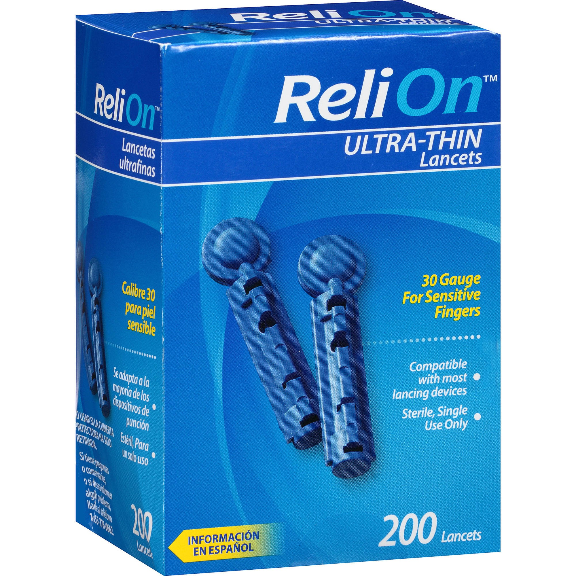 ReliOn Ultra-Thin Lancets, 30G, 200 Ct