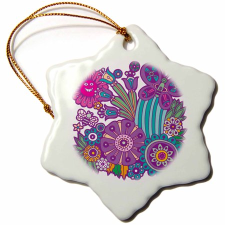 3dRose Cute Summer Flowers Bee and Butterfly Cartoon Artsy Nature Design - Snowflake Ornament, 3-inch