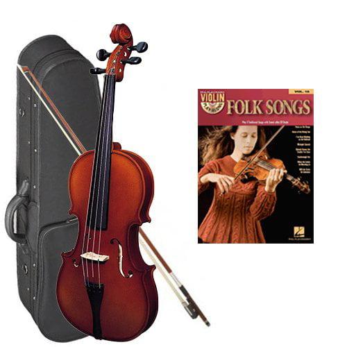 Strunal 220 Student Violin Folk Songs Play Along Pack - 1/2 Size European Violin w/Case & Play Along Book