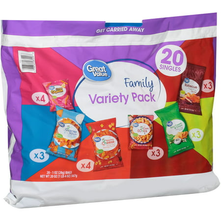 (2 Pack) Great Value Family Variety Pack Snacks, Tortilla, Corn, Potato Chip Variety, 20 Count for $<!---->
