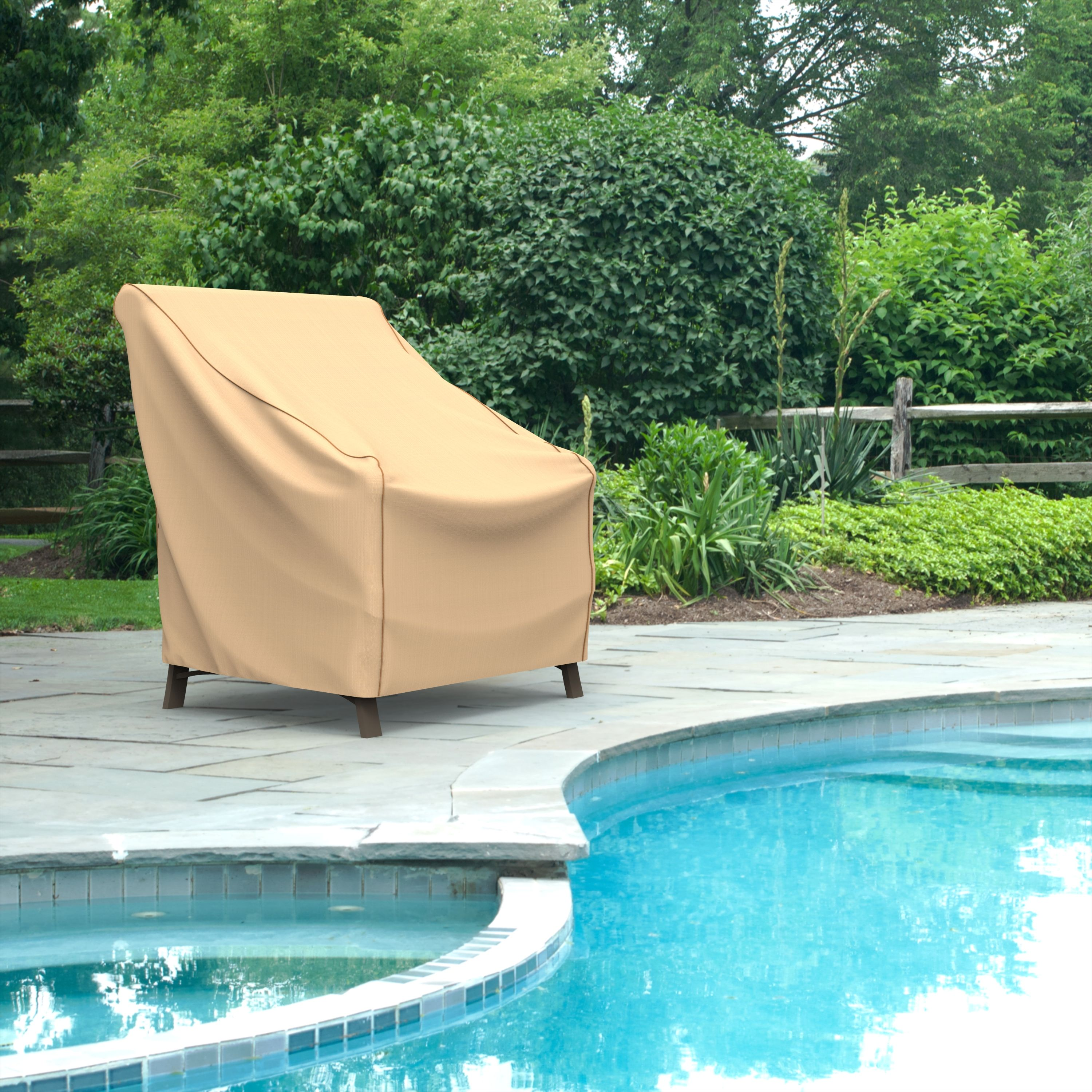 Budge XSmall Tan Patio Outdoor Chair Cover, Chelsea
