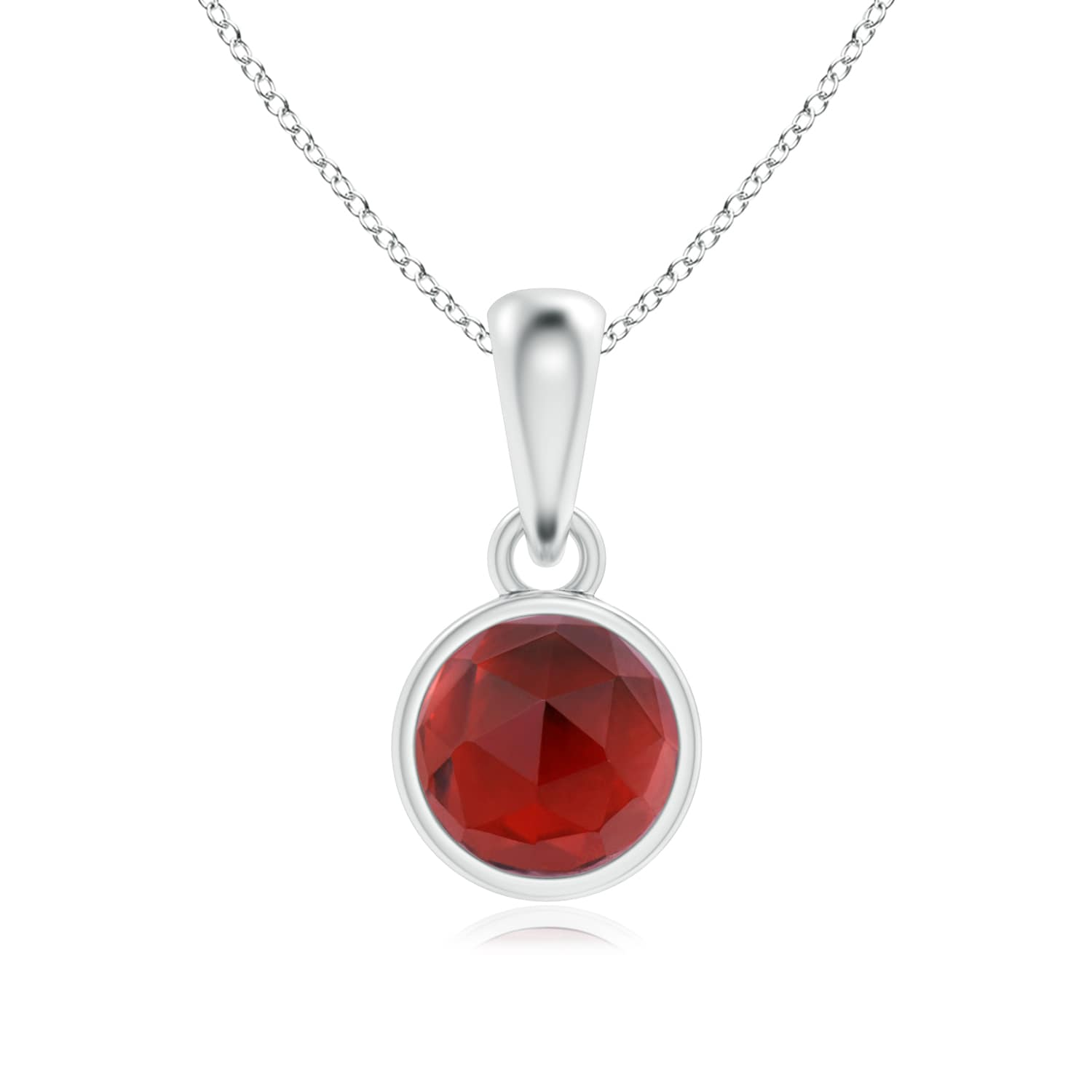 January Birthstone Pendant Necklaces Bezel Set Garnet Solitaire Dangle Pendant in 14K Rose Gold (5mm Garnet)... by Angara.com