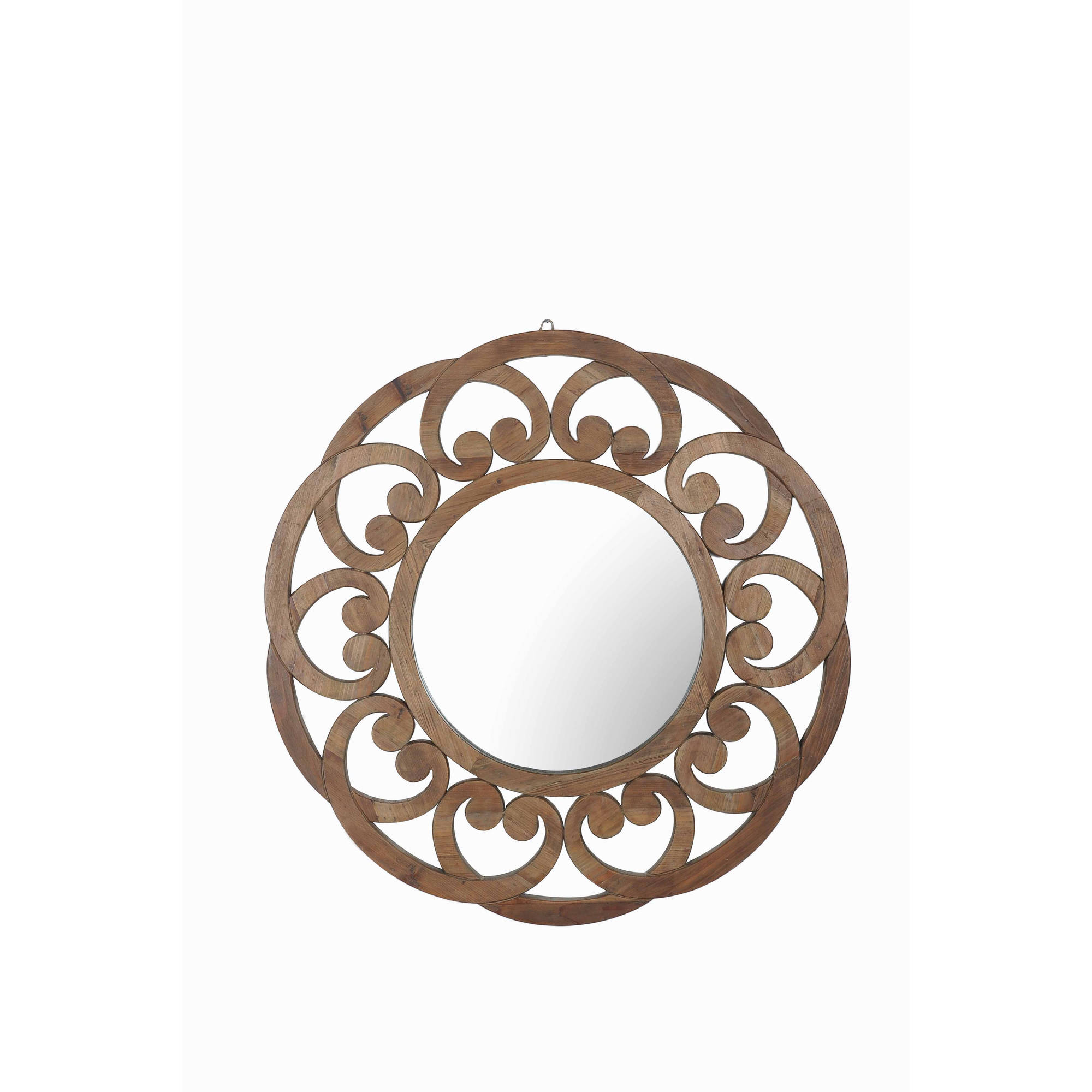 "Sunjoy 130201010 Recycled Fir Wood Wide Border Round Mirror, 57"" by SunNest Services LLC"