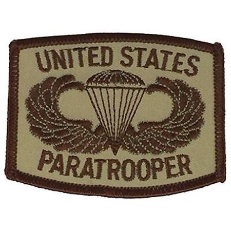 US PARATROOPER WITH JUMP WINGS DESERT TAN PATCH AIRBORNE ABN SOLDIER