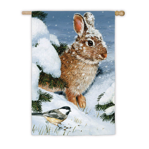 House Size Silk Reflections Flag, Winter Cottontail, 29x43 Inches
