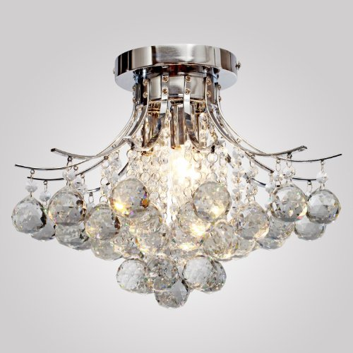 LOCO® Chrome Finish Crystal Chandelier with 3 lights, Mini Style Flush Mount Ceiling Light Fixture for Study Room/Office, Dining Room, Bedroom, Living Room
