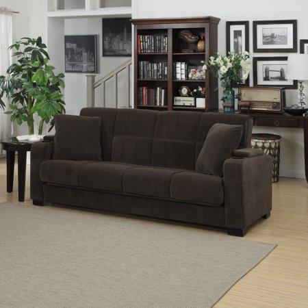 Clay Alder Home Klingle Chocolate Brown Velvet Convert A Couch Storage Arm Futon Sofa Sleeper