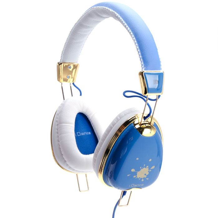 Idance Funky400 Headset - Stereo - White, Blue - Mini-phone - Wired - 32 Ohm - 15 Hz - 20 Khz - Gold Plated - Over-the-head - Binaural - Circumaural - 4.92 Ft Cable (funky400)