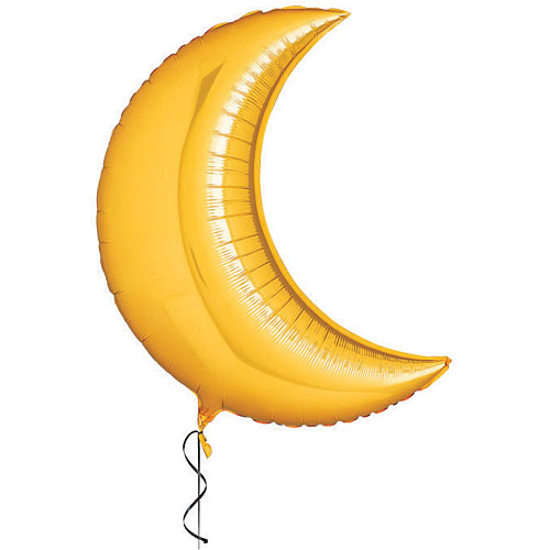 36 inch. Crescent Moon Mylar Balloon