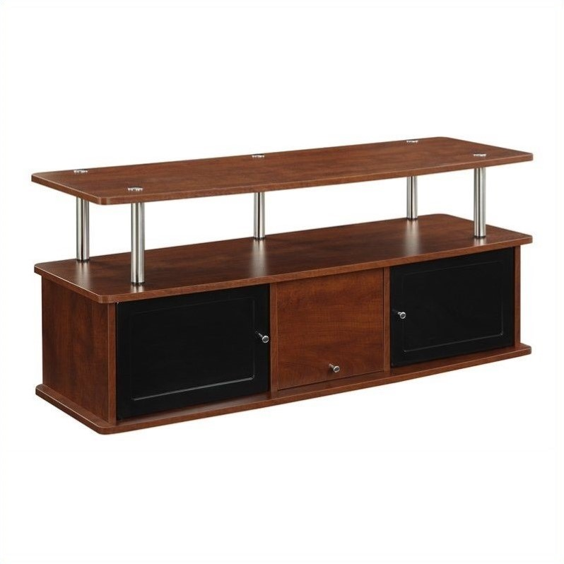 Pemberly Row TV Stand with 3 Cabinets - Cherry