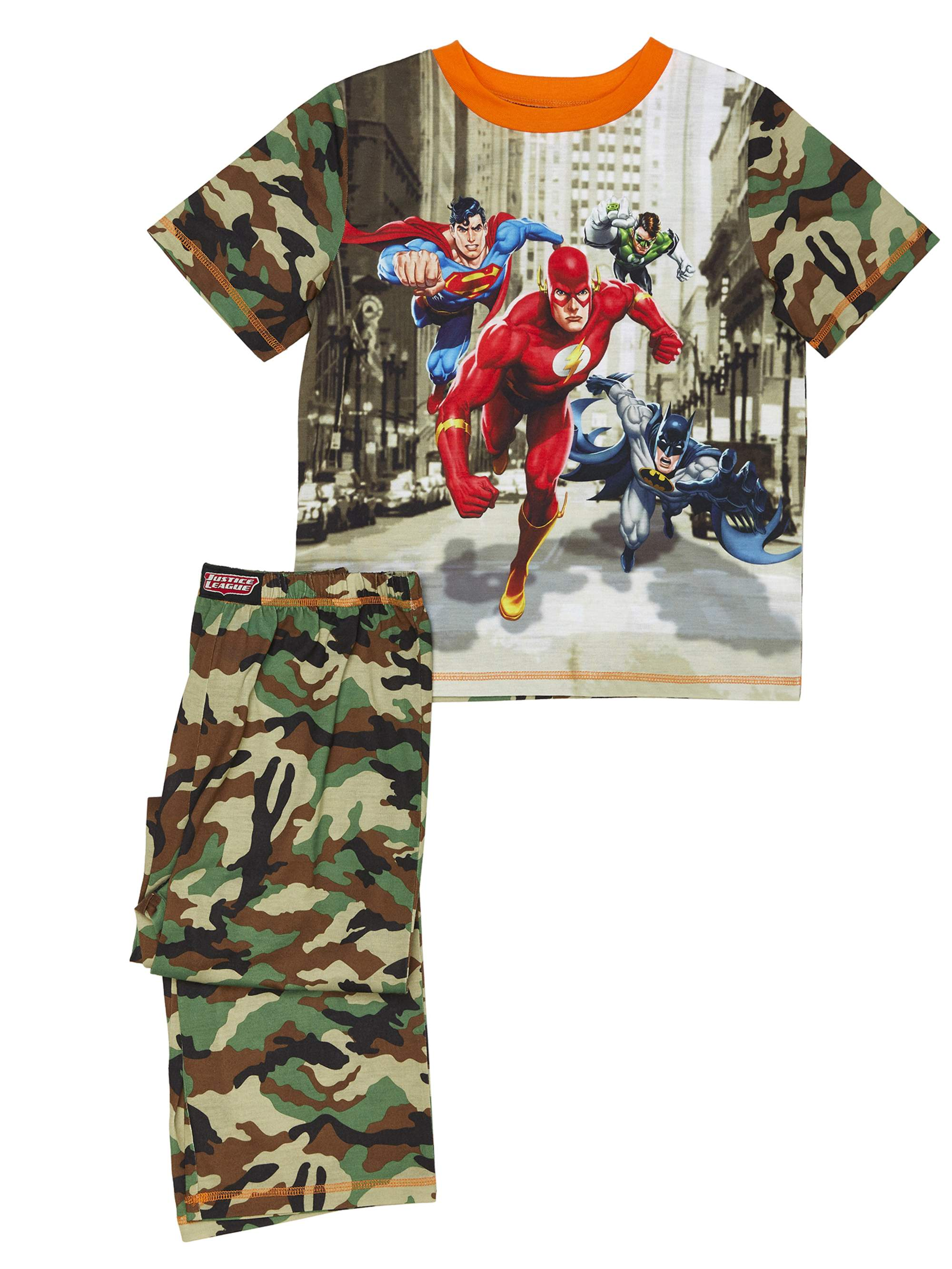 Boys' Justice League Camo 2 Piece Pajama Sleep Set (Little Boy & Big Boy)