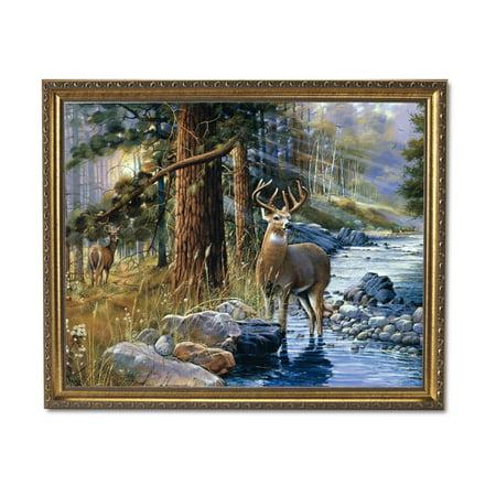 Whitetail Deer Framed - Whitetail Buck Deer Doe Lake Animal Wildlife Cabin Lodge Wall Picture Gold Framed Art Print