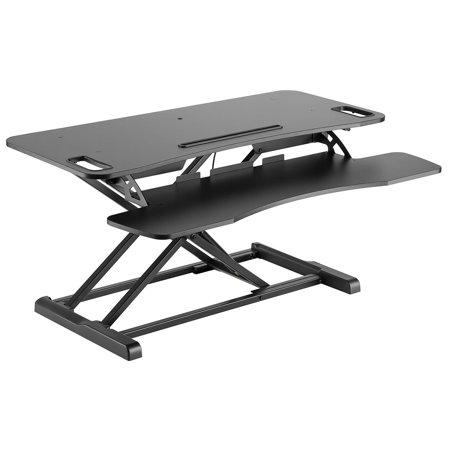Monoprice Height Adjustable Sit Stand Riser Workstation Desk Converter Large - Black   Optimized For Cubicles , 15.7 x 37.4 Inch Area, Adjustable from 4.2 To 19.7 Inches - Workstream Collection