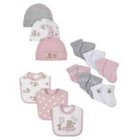 Wonder Nation Assorted Socks, Bibs and Caps Accessory Set, 12pc (Baby Girls)