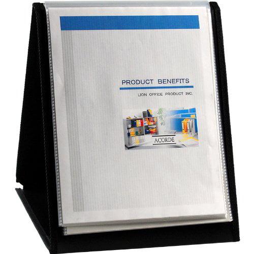 "Lion Flip-n-tell Display Easel Book - Letter - 8.50"" X 11"" - 40 Sheet Capacity - 20 Pockets - Polypropylene - Black - 1 Each (LIO39009)"