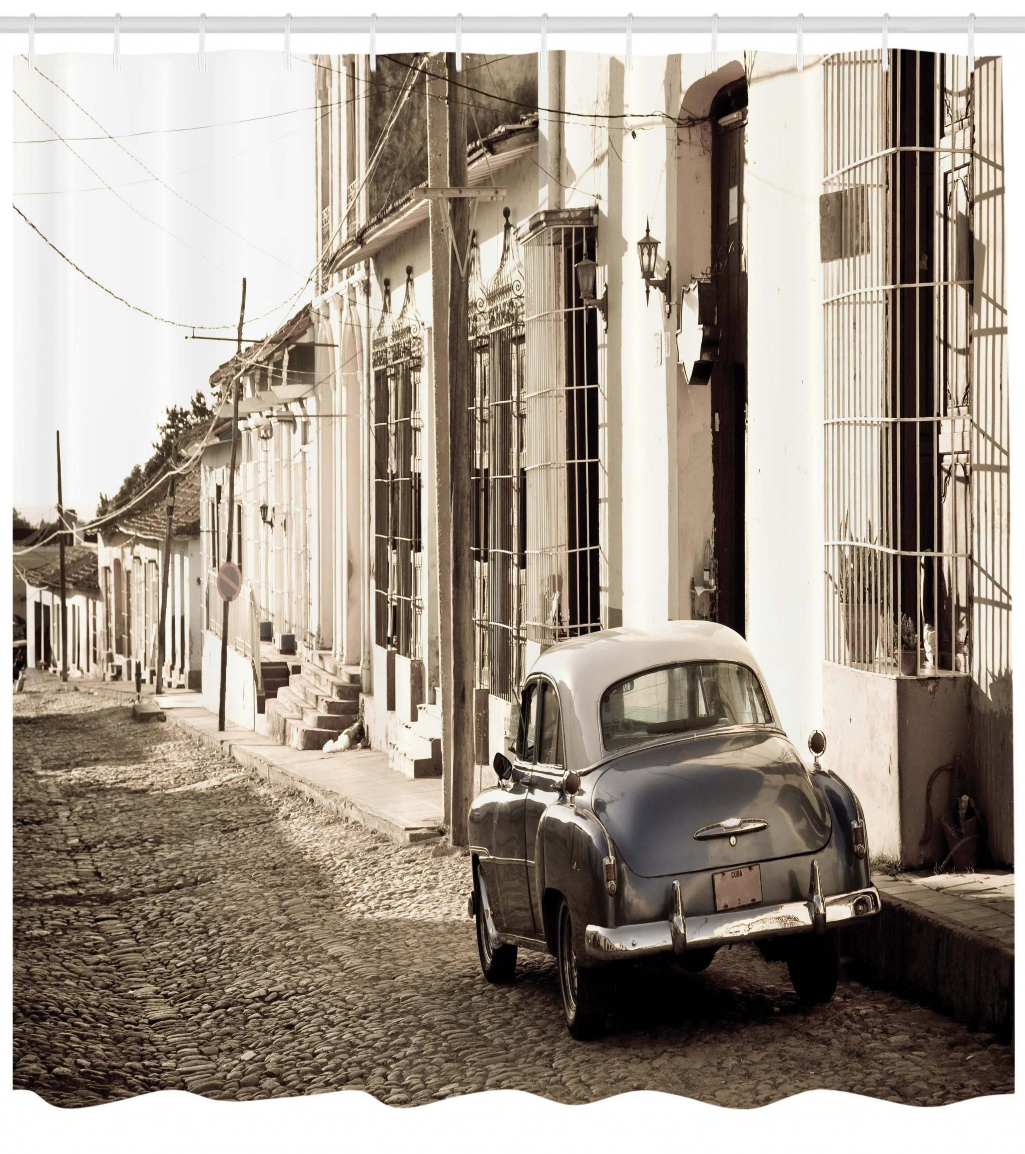 Vintage Car Shower Curtain An Old American In The Colonial Streets Of Trinidad Cuba Historical Picture Fabric Bathroom Set With Hooks Beige