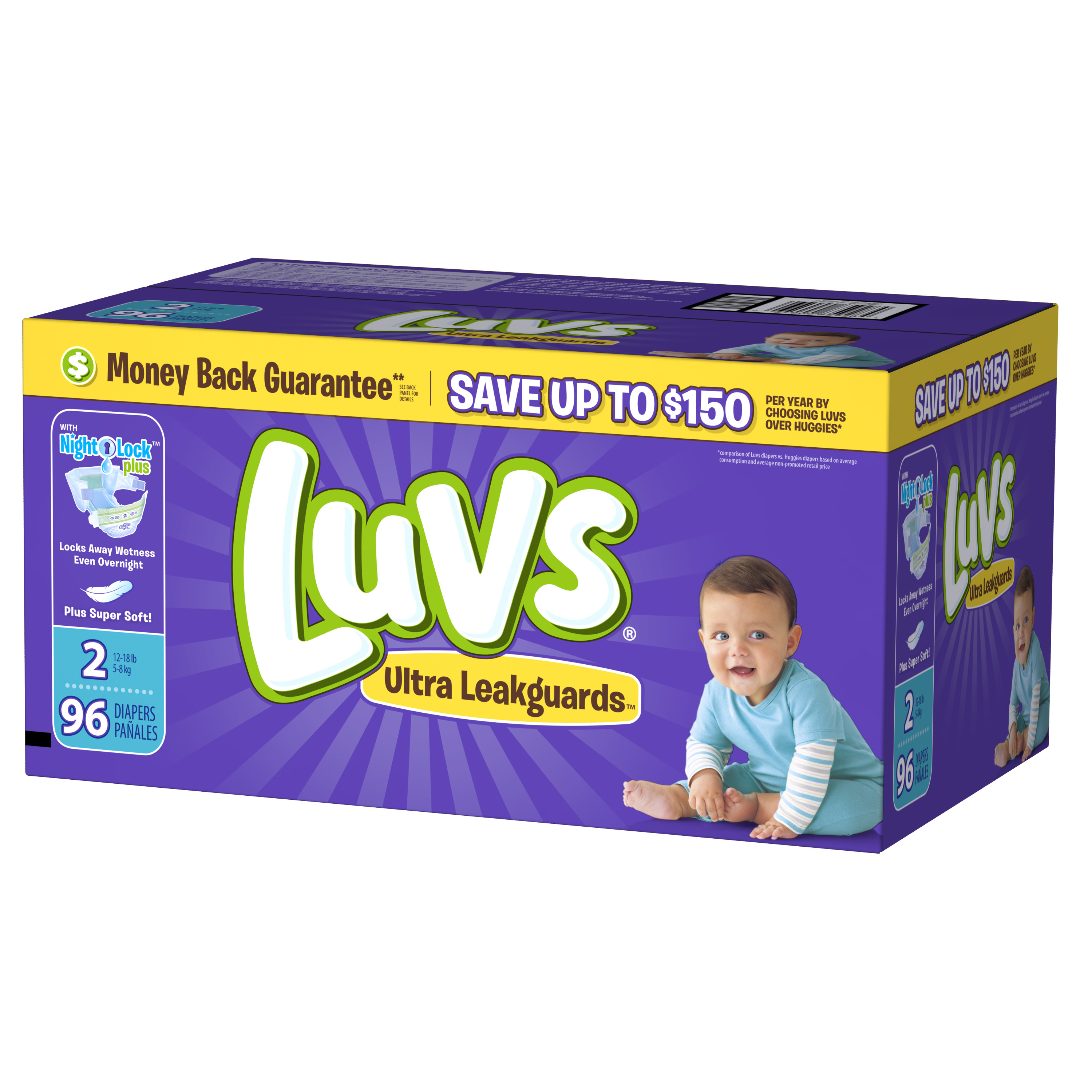 Luvs Ultra Leakguards Newborn Diapers Size 2 96 count