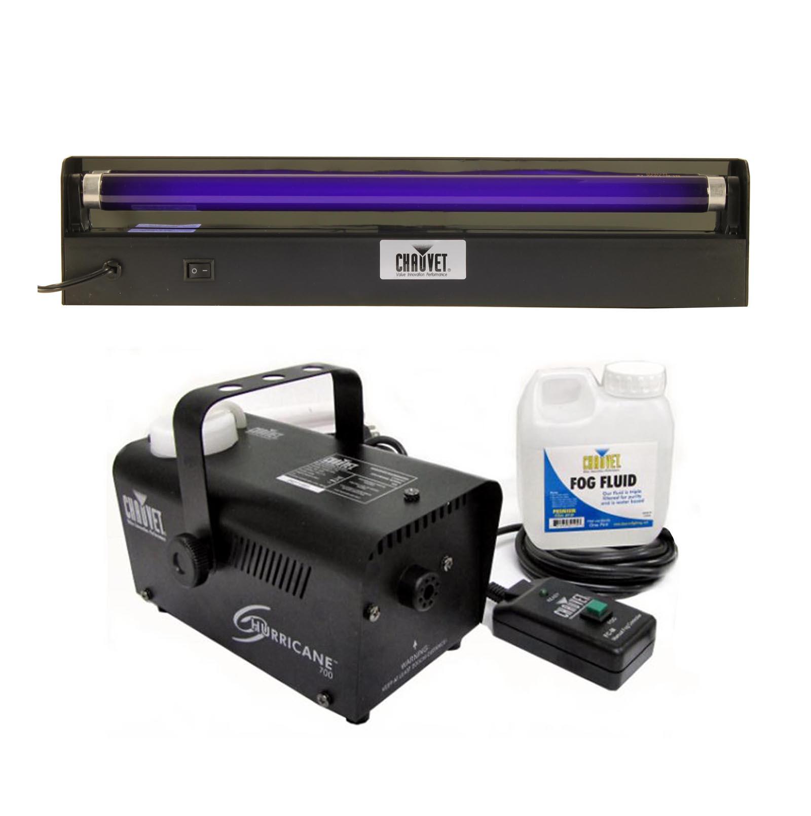 "CHAUVET NV-F18 18"" UV Black-Light + Hurricane 700 H700 Pro DJ Fog/Smoke Machine"