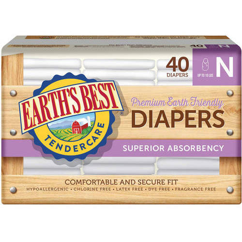 Earth's Best - TenderCare Chlorine-Free Diapers, Newborn, 40 count