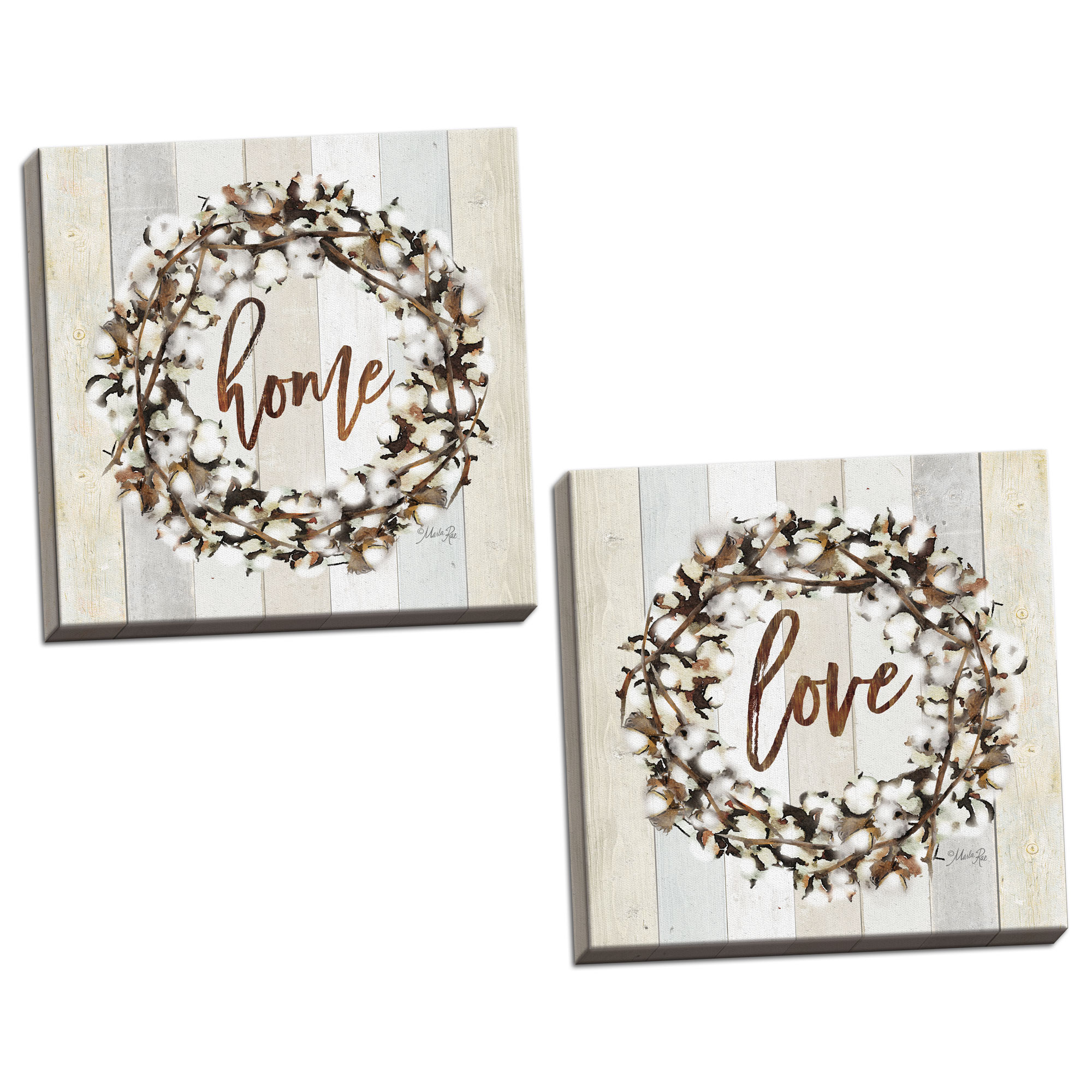 Gango Home Decor Country-Rustic Love Cotton Wreath & Home Cotton Wreath by Marla Rae (Ready to Hang); Two 12x12in Hand-Stretched Canvases