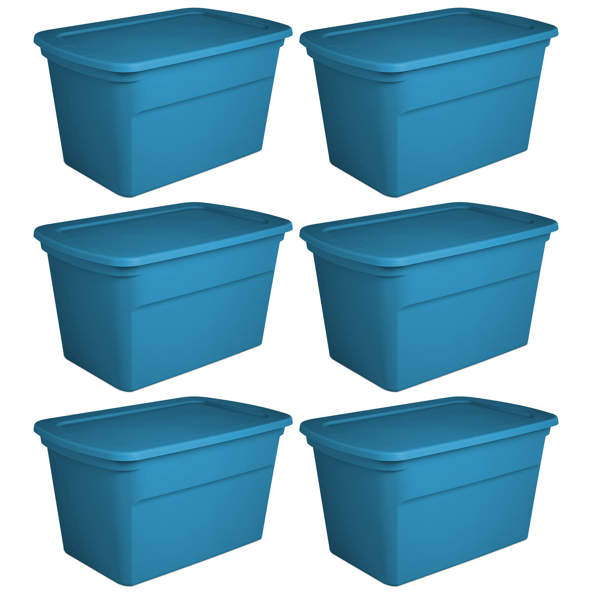 Sterilite 30 Gallon Plastic Storage Tote, Blue Aquarium (6 Pack) | 17364306
