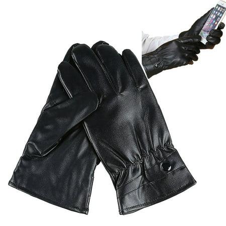 Jolege Mens Mitten Winter Leather Motorcycle Biker Full Finger Touch Screen Gloves