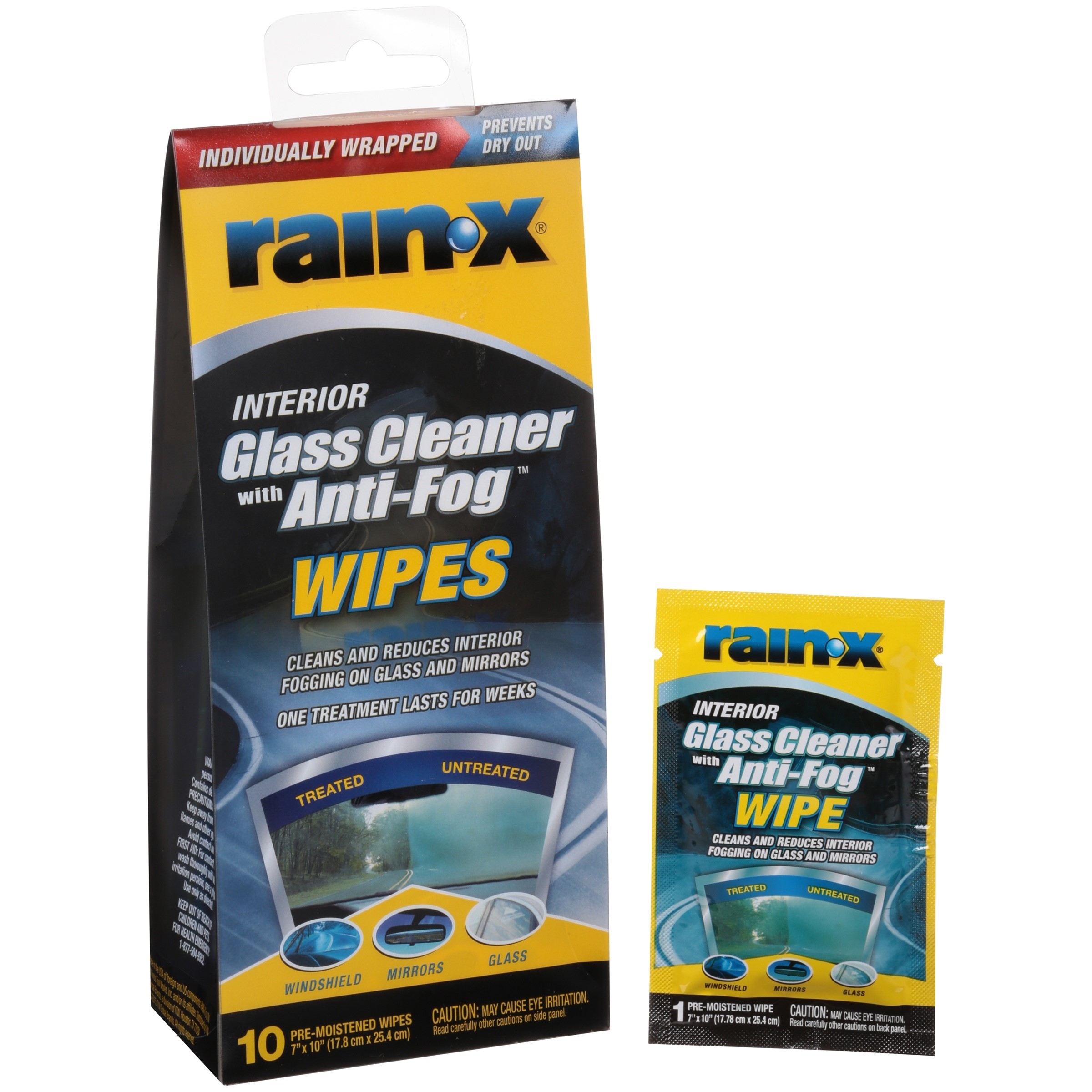 Rain-X Interior Glass Cleaner with Anti-Fog Wipes, 10ct - 630040
