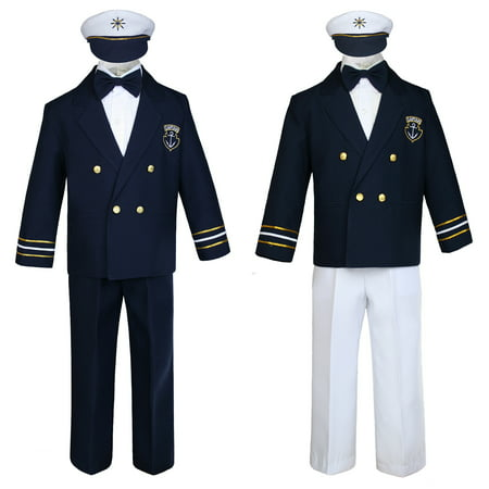 Baby Boy Kids Toddler Captain Sailor Suit Formal Party Nautical Navy White SM-18
