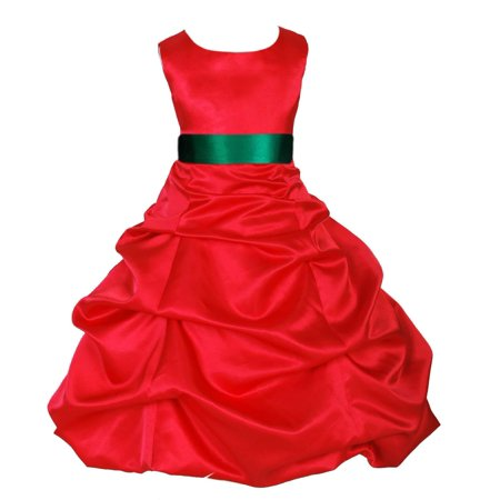 Ekidsbridal Formal Satin Pick-up Red Flower Girl Dress Christmas Bridesmaid Wedding Pageant Toddler Recital Easter Holiday Communion Birthday Baptism Occasions Size 2 4 6 8 10 12 14 16 806s](Christmas Themed Dresses)