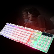 Opolski Colorful Rainbow LED Illuminated Backlight USB Wired Desktop Gaming Keyboard
