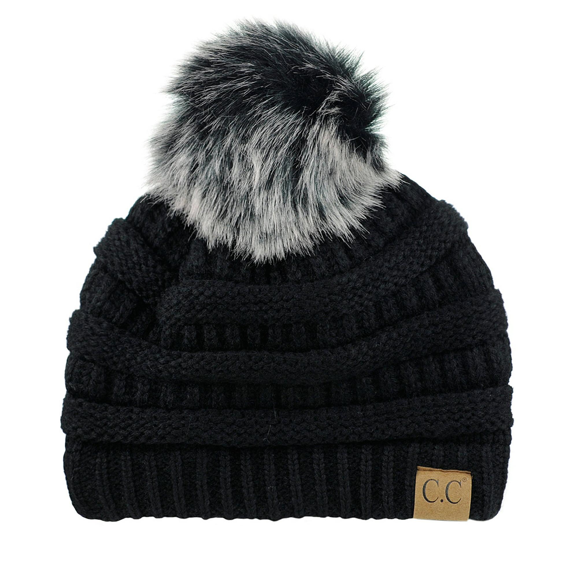 ef80b0431c6a8 NYFASHION101 Exclusive Soft Stretch Cable Knit Faux Fur Pom Pom Beanie Hat  - Melange Gray Metallic