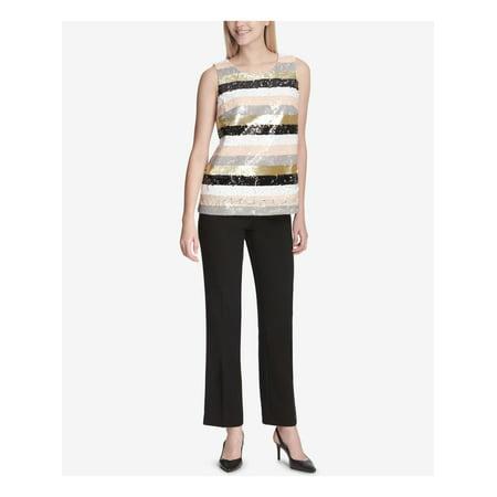 CALVIN KLEIN Womens Pink Multicolor Sequin Stripe Sleeveless Jewel Neck Top  Size: M Sleeveless Womens Top