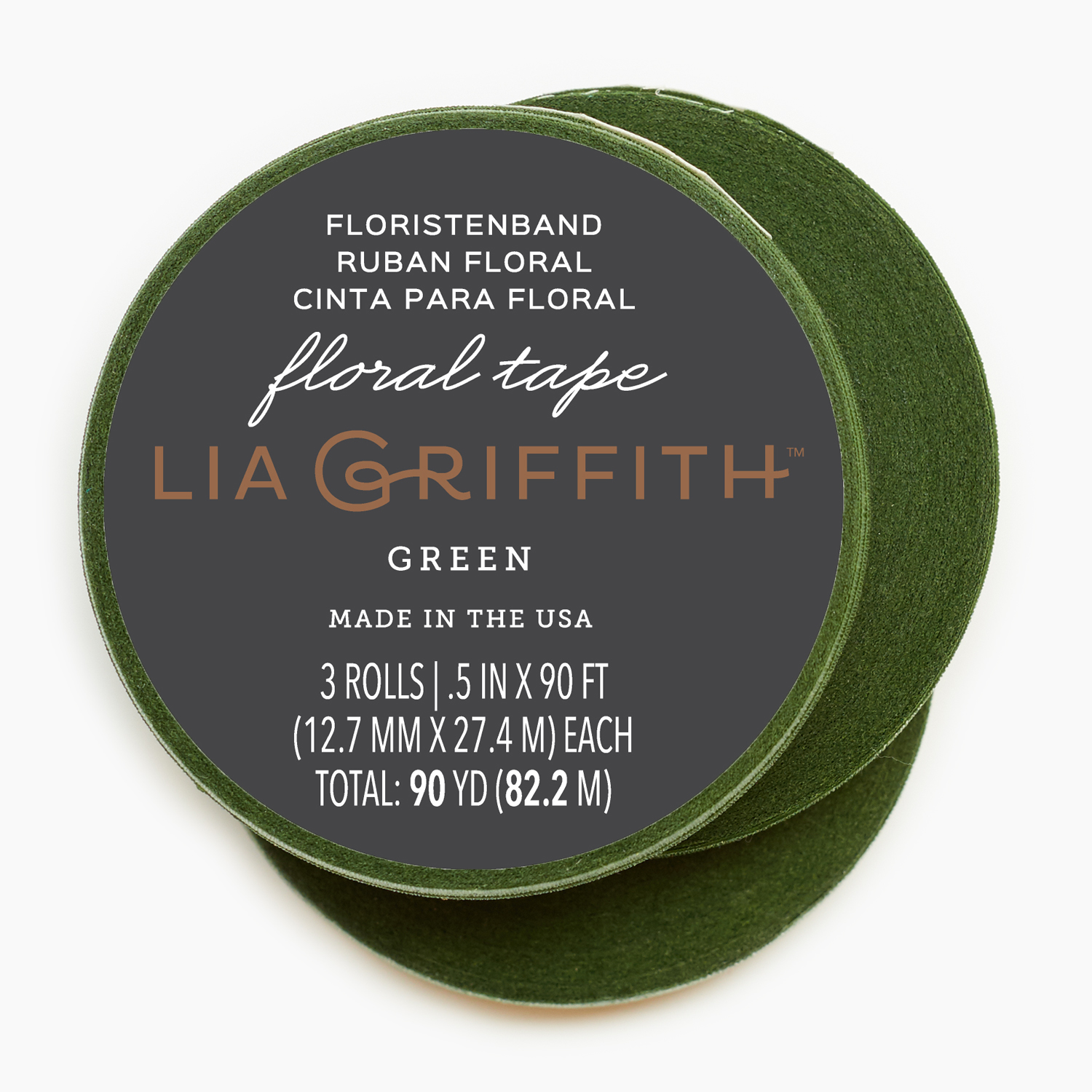 Lia Griffith Stem Tape 90', 3 Rolls, Moss Green