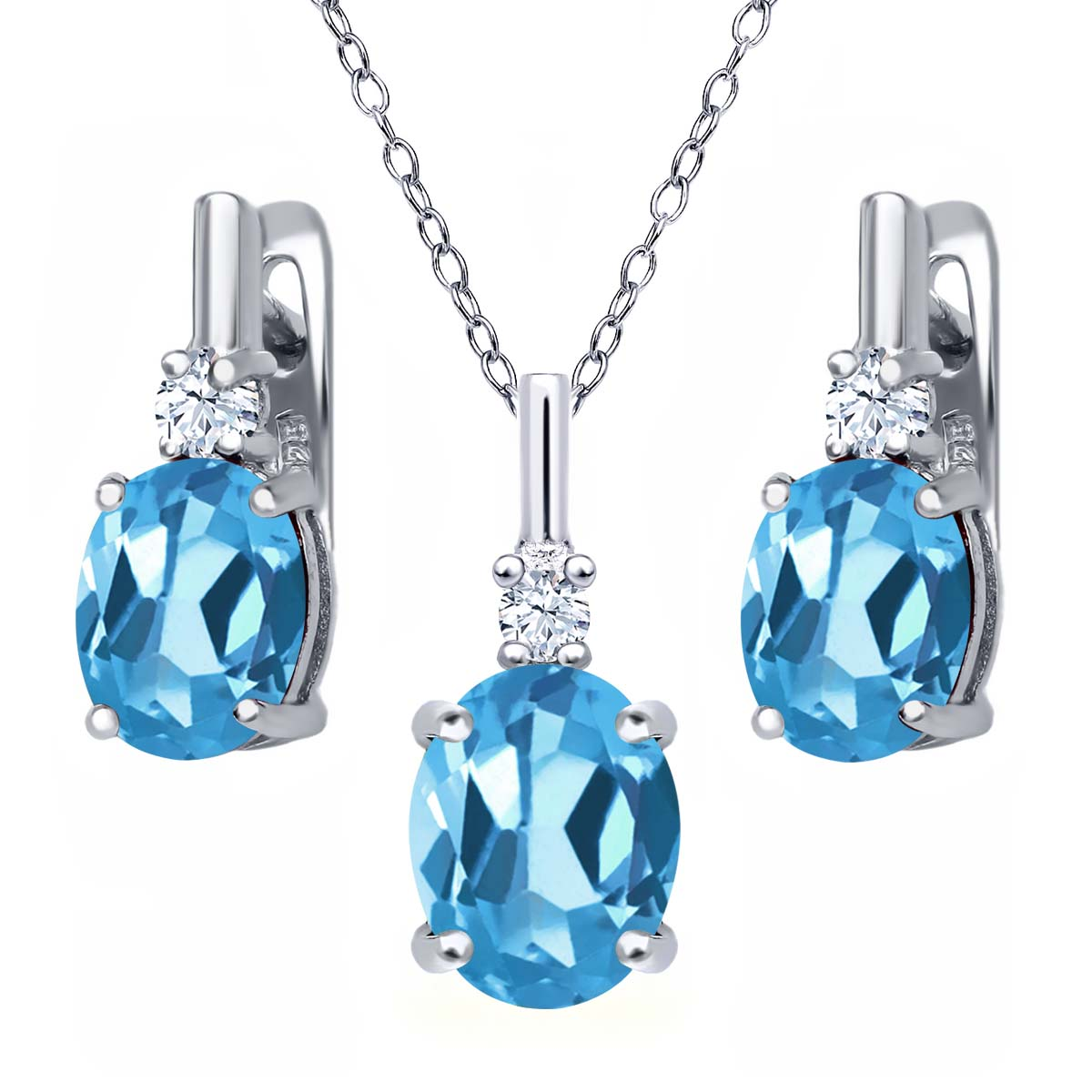 6.68 Ct Oval Swiss Blue Topaz White Topaz 925 Silver Pendant Earrings Set by
