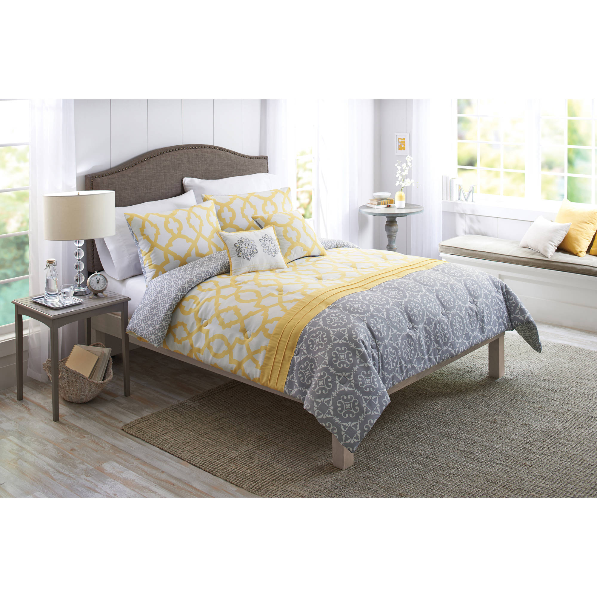 Better Homes & Gardens Full Medallion Yellow & Gray Comforter Set, 5 Piece