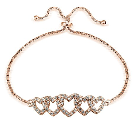 Rose Gold Tone over Sterling Silver Cubic Zirconia Intertwining Hearts Adjustable Bracelet