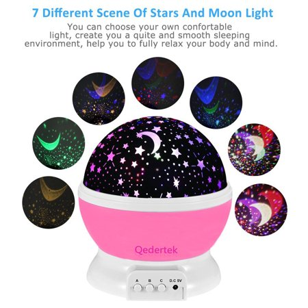 Qedertek Baby Night Light  Lamp Uinstone Moon Star Projector 360 Degree Rotation Indoor Decoration Light For Party Birthday Wedding Halloween Christmas School Decor Pink