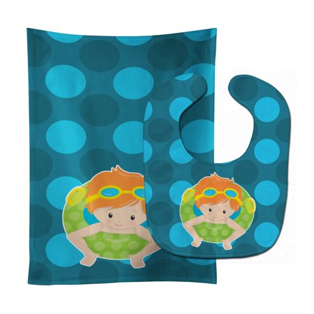 Summer Pool Boy in Tube Ginger Baby Bib & Burp Cloth