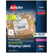 "Avery Waterproof Labels, Sure Feed, 3-1/3"" x 4"", 300 Labels (5524)"