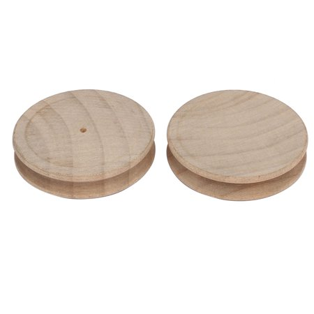 54mmx12mm Wood Round Shape Edge Slickers Burnishers Leather Tools Kahki 2pcs (Wood Burnisher)