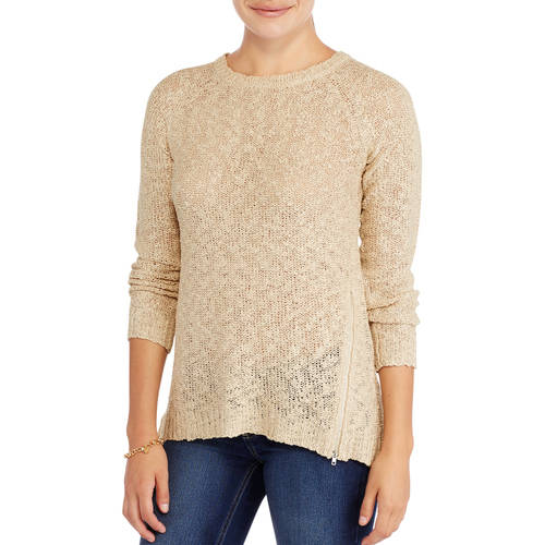 Generic Women's High - Low Sweater Tunic with Zipper Details