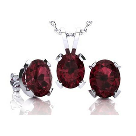 3 Carat Oval Shape Garnet Necklace and Earring Set In Sterling Silver Garnet Necklace And Earring Set