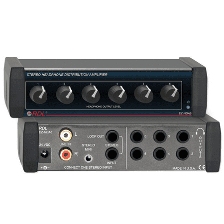 RDL EZ-HDA6 Stereo Headphone Distribution Amp - 1X6 Rear-Panel Outputs ()
