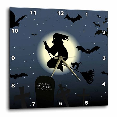 3dRose Witch on Broom with Bats Flying in Air, Wall Clock, 10 by 10-inch