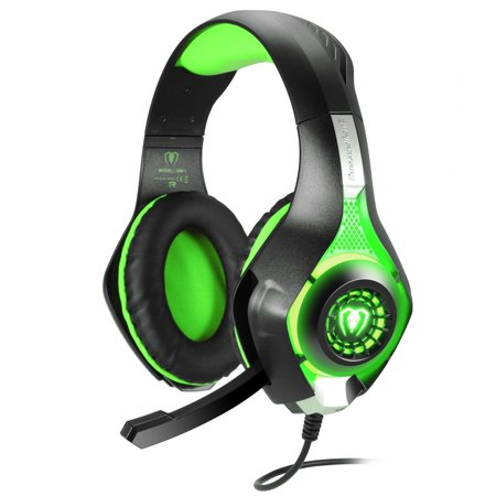 TurnRaise 3.5mm Stereo Gaming LED Lighting Over-Ear Headphone with Mic for Xboxone/ Laptop Tablet/ PS4/ Mobile Phones w/ Noise Cancelling & Volume