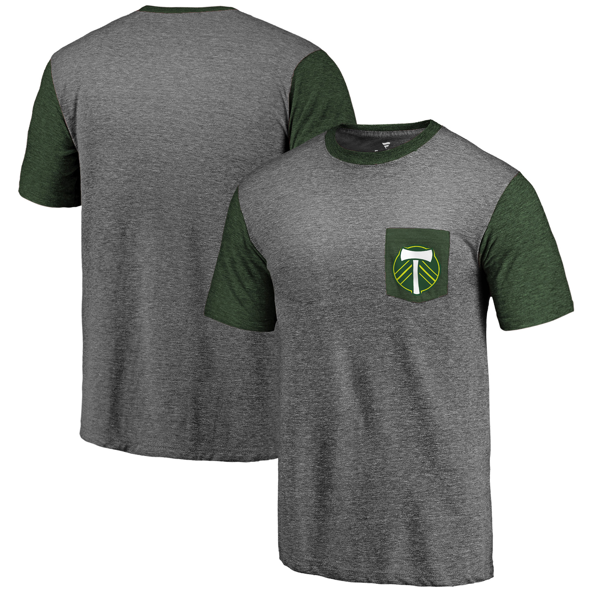 Portland Timbers Fanatics Branded Tri-Blend Pocket T-Shirt - Heathered Gray/Green