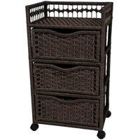 3-Drawer Natural Fiber Chest on Wheels (Black)