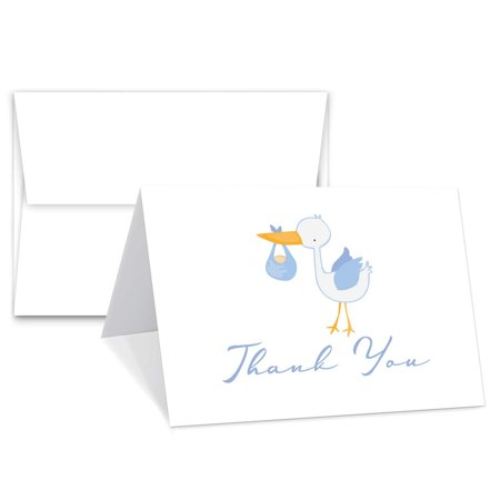 Baby Boy Thank You Cards With Envelopes | Elegant Light Blue Design - Blank on The Inside - Baby Shower Gifts | 4.25