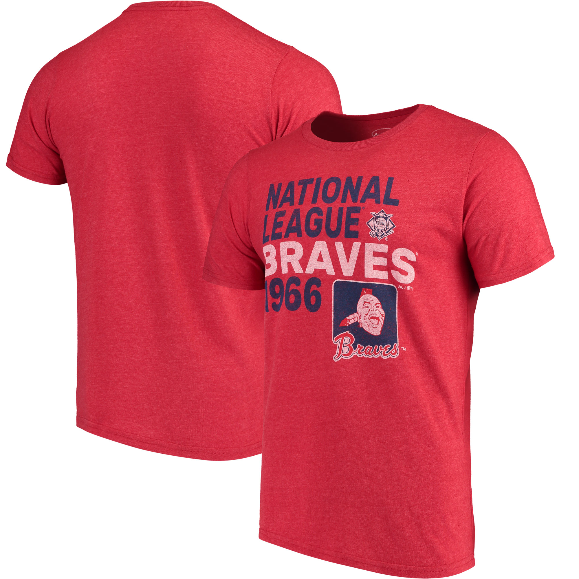 Atlanta Braves Majestic Threads Throwback Cooperstown Collection Tri-Blend T-Shirt - Red